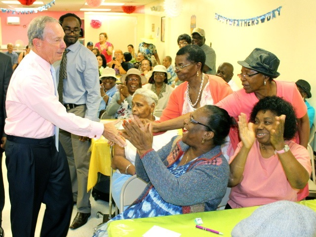Mayor Michael Bloomberg greets residents at a Bronx senior center on June 20, 2012, the first day of summer.