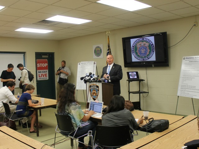 Reporters were given an overview of the new NYPD's new stop-and-frisk training course on Wednesday.