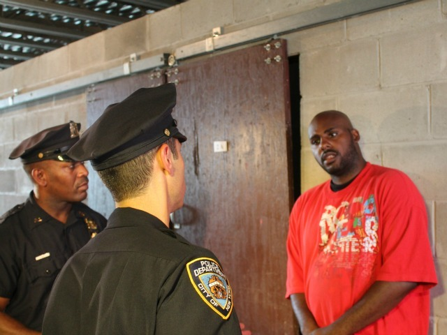<p>During a police training exercise, two police officers stop an actor playing a man who says he&#39;s been locked out of his NYCHA unit.</p>