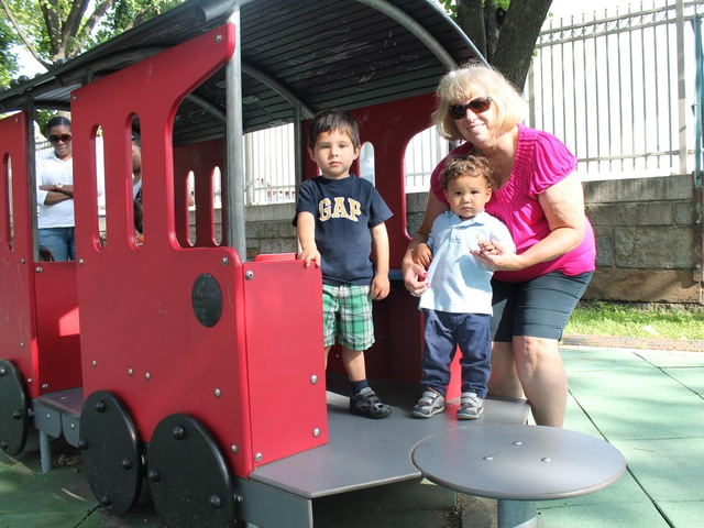 Carol Dudek, who visits Old Hickory Park playground with her two grandsons, Mateo, 3, and Luc, 17 months old, says kids really like a playground train.