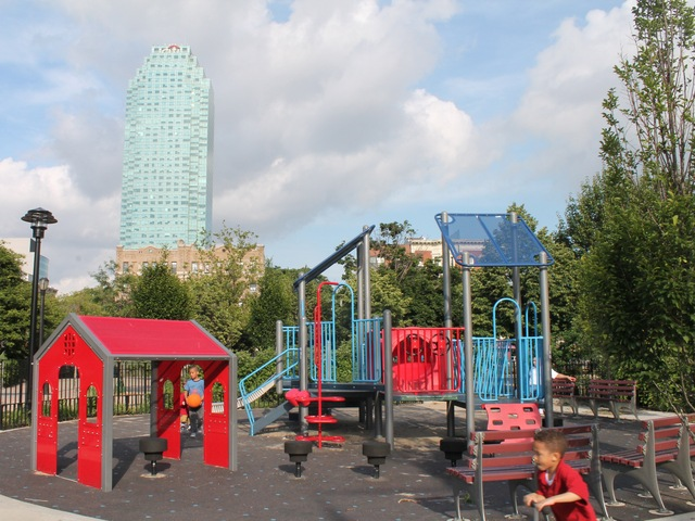 Murray Playground has a giant spiderweb-like climbing structure, many swings, shuffleboard layouts, game tables and see-saws.