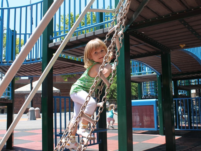 3-year old daughter Samantha often plays at Dutch Kills playground.