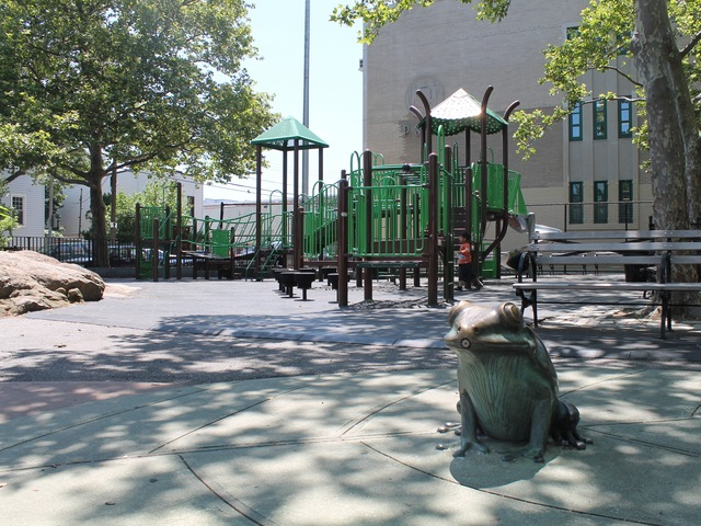 A frog-shaped sprinkler at Spirit Playground.