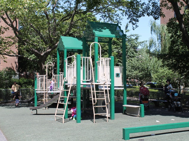 Queensview Playground is quiet and far from the street, parents say.