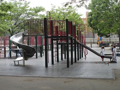 Astoria Heights Playground has many climbing structures and slides.