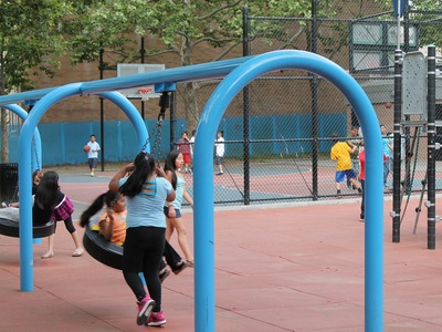 Tire swings at Athens Square Playground