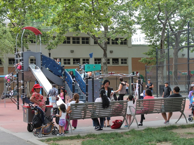It gets crowded sometimes at Athens Square playground.