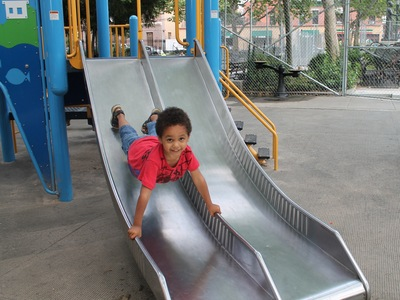 5-year old Jayden Obiaya likes to play at Athens Square Playground