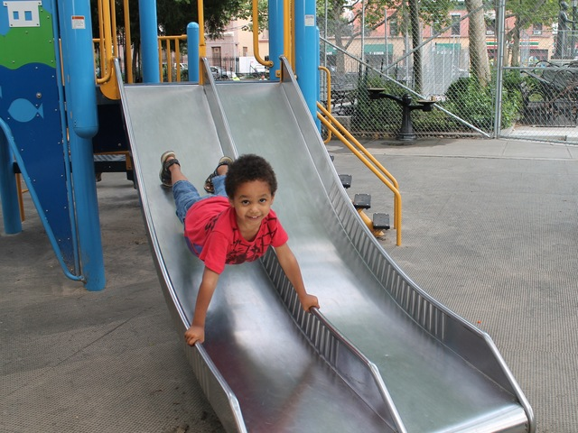 5-year old Jayden Obiaya likes to play at Athens Square playground.