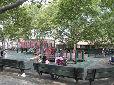 Van Alst Playground has lots of trees, which provide shade.