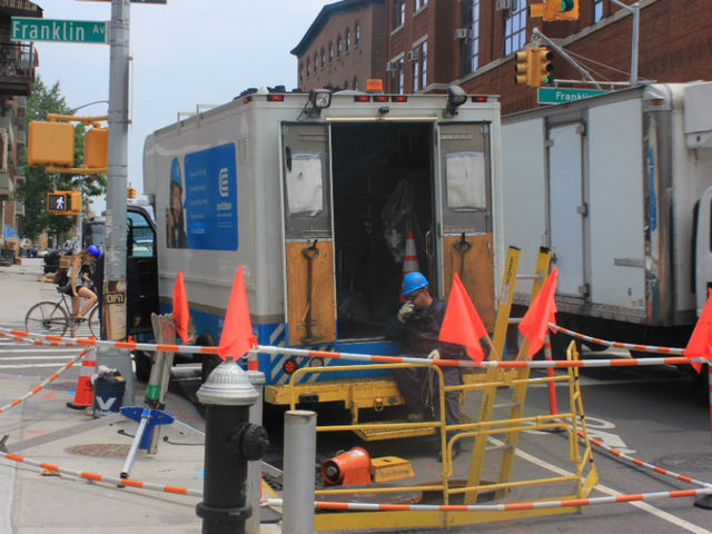 ConEd trucks dotted the Orthodox Jewish section of Williamsburg in response to power outages on June 22, 2012.