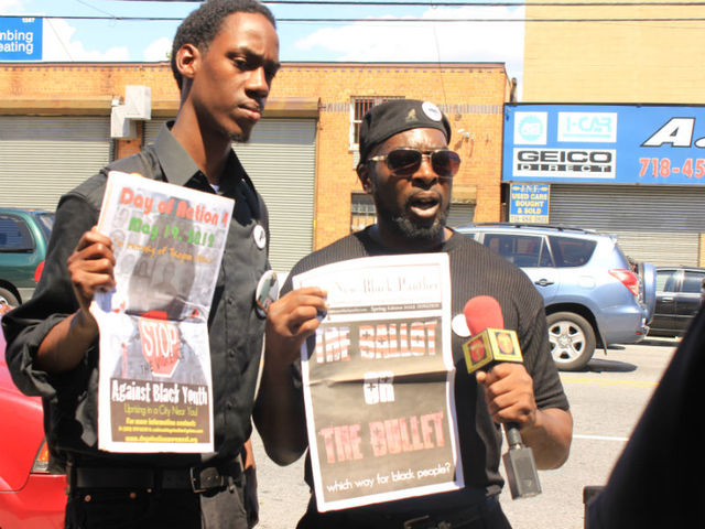 """Dilanga,"" 27, right, and Sha, left, the Chapter Chairman of the Queens Black Panthers, were at the funeral to help spread their anti-Stop and Frisk message. ""This is a total revolution,"" said Sha."
