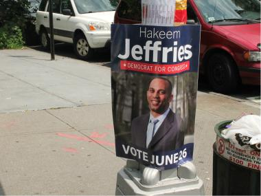 Hakeem Jeffries' campaign posters found on public poles in Fort Greene.