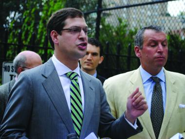 State Assemblyman Michah Kellner announces a lawsuit against the city over the East 91st Street marine waste transfer station on Monday, June 25, 2012. Jed Garfield (right), of Residents for Sane Trash Solutions, which signed onto the suit, stands nearby.