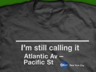Designer Deb Goldstein created a T-shirt to protest the renaming of Atlantic Avenue-Pacific Street to Atlantic Avenue-Barclays Center.