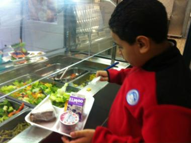 A student at the salad bar at P.S. 218 in The Bronx. That school has implemented a host of initiatives to encourage healthy eating, including superhero-themed nutritional ads.