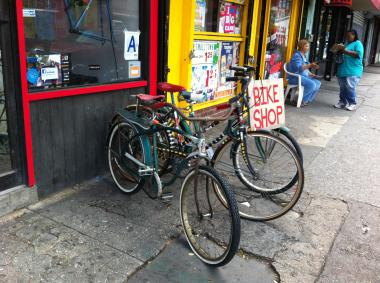 Many Fort Greene cyclists stop by Red Lantern Bicycles for a tune-up or cup of coffee.