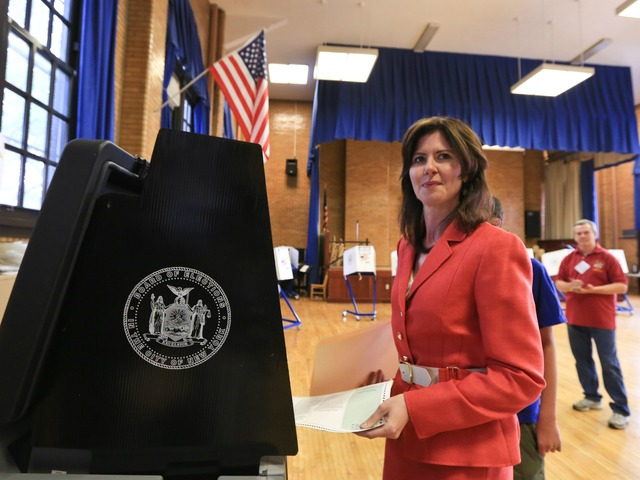 Councilwoman and Congressional candidate Elizabeth Crowley casts her vote on Tuesday, June 26, 2012, at P.S. 113 in Queens.