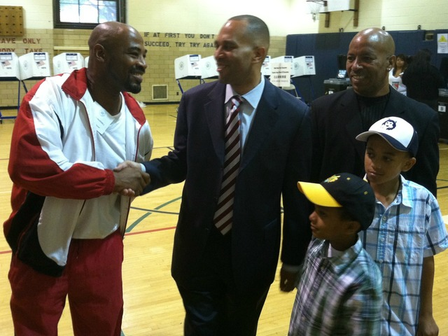 Hakeem Jeffries shakes hands witha supporter after casting his vote on Tuesday, June 26, 2012, at P.S. 9 in Brooklyn.