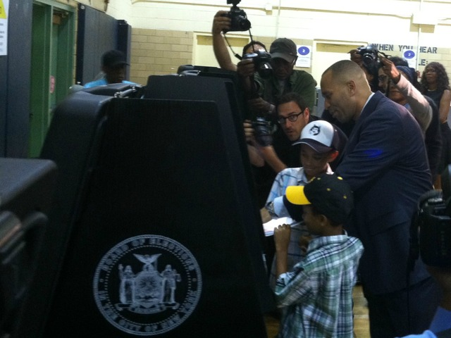 Hakeem Jeffries casts his vote on Tuesday, June 26, 2012, at P.S. 9 in Brooklyn.