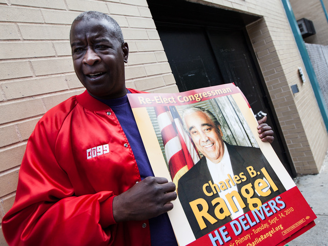 Henry Singleton, 52, a Rangel supporter, heads into P.S. 175 in Harlem to cast his vote on June 26, 2012.