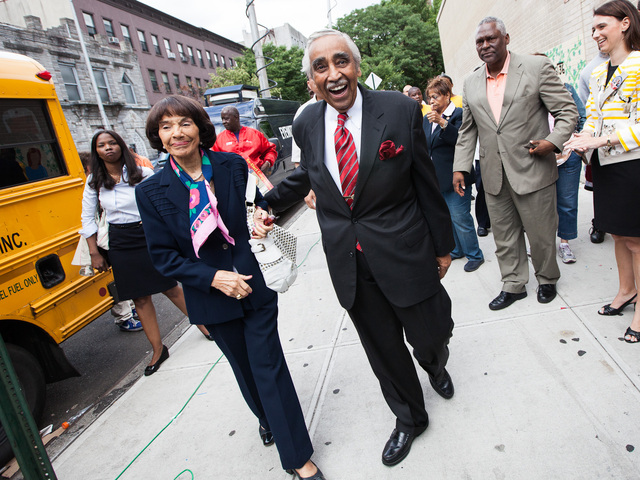 Congressman Charles Rangel, 82, and his wife Alma arrive at PS 175 in Harlem to vote in the primary elections on June 26, 2012.