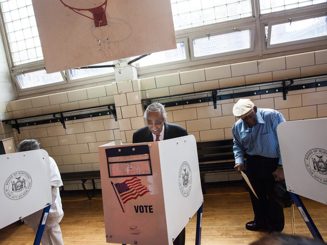 Congressman Charles Rangel cast his vote at P.S. 175 in Harlem on June 26, 2012.