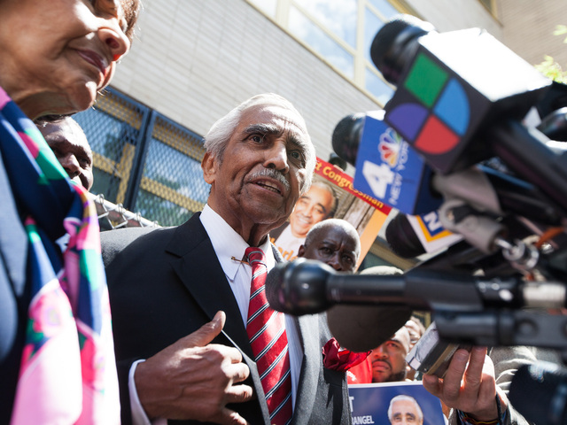 Congressman Charles Rangel, 82, talks to the media outside P.S. 175 in Harlem on June 26, 2012.