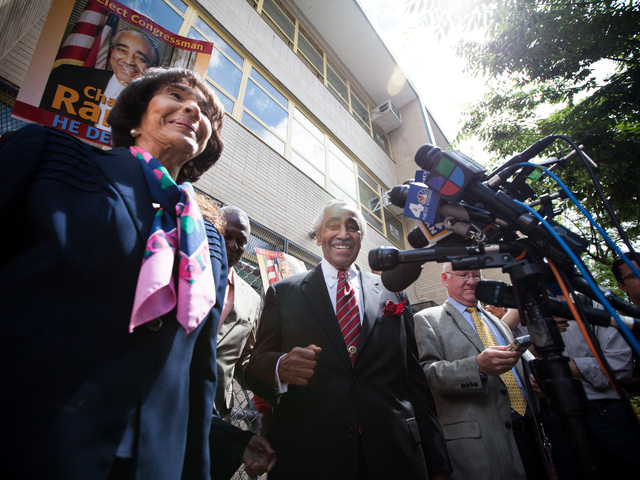 Congressman Charles Rangel, 82, and his wife Alma outside P.S. 175 in Harlem after voting in the primary elections on June 26, 2012.