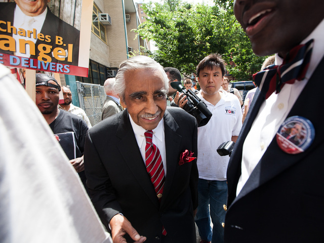 Congressman Charles Rangel, 82, leaves P.S. 175 in Harlem after voting in the primary elections on June 26, 2012.