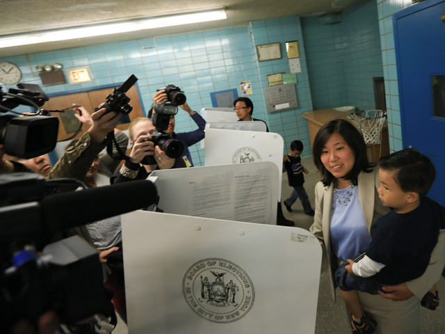 Grace Meng casts her vote at the St. Andrew Avellino School in Flushing on Tuesday, June 26, 2012.