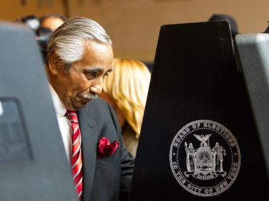 Democratic Congressman Charles Rangel casts his vote at PS 175 in Harlem on June 26th, 2012.