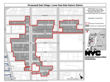 The boundaries of the proposed East Village/Lower East Side Historic District.