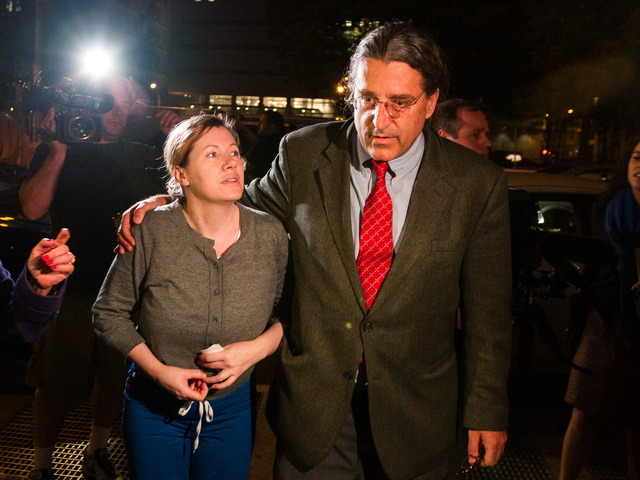 Anna Gristina leaves Manhattan Criminal Court with lawyer Norman Pattis on June 26, 2012.