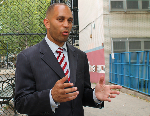 Hakeem Jeffries speaks outside of a polling center at Edward C. Blum Elementary School in Fort Greene.