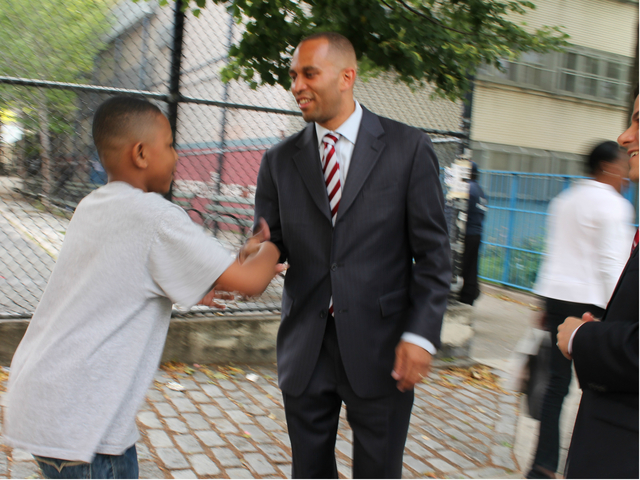 Hakeem Jeffries outside of a polling center at Edward C. Blum Elementary School in Fort Greene.