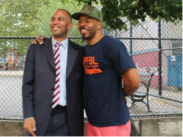 Hakeem Jeffries and CakeManRave outside of a polling center at Edward C. Blum Elementary School in Fort Greene.