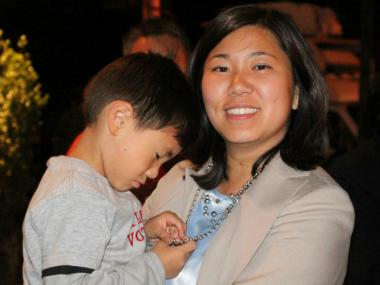 Grace Meng with her son Tyler on the night of her victory in the 6th Congressional District Democratic primary June 26, 2012.