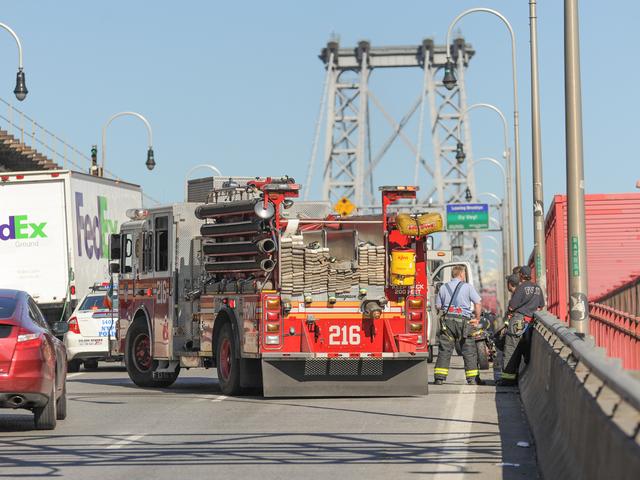 A motorcycle collided with a van on the Williamsburg Bridge Wednesday, June 27, 2012.
