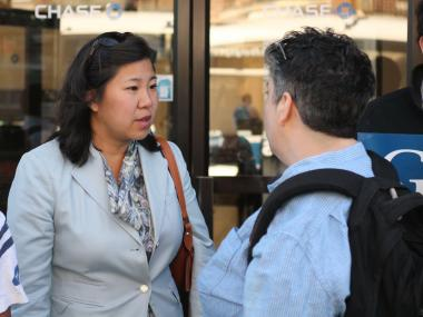 Assemblywoman Grace Meng greeted voters in Forest Hills on Wednesday morning.