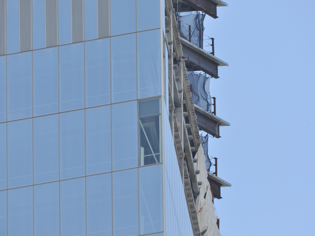 The damaged section of glass on 4 World Trade Center Wednesday, June 27, 2012.