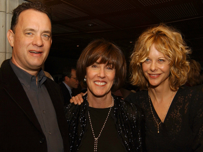 Nora Ephron is reunited with 'Sleepless in Seattle' and 'You've Got Mail' stars Tom Hanks and Meg Ryan, at the premier party for 'Imaginary Friends.'