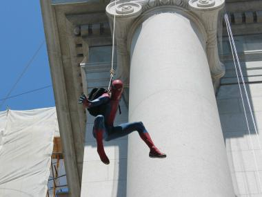Many young children were swept away by the chance to see Spider-Man in action.
