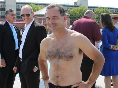 Parks Commissioner Adrian Benepe showed off his swimsuit body before making the big leap into McCarren Pool Thursday, June 28, 2012.