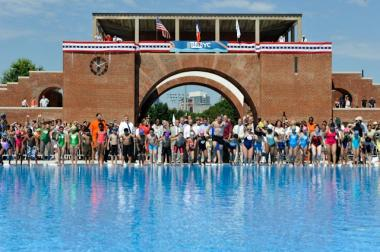 A crowd of swimmers prepared to leap into the water at McCarren Pool's opening day.