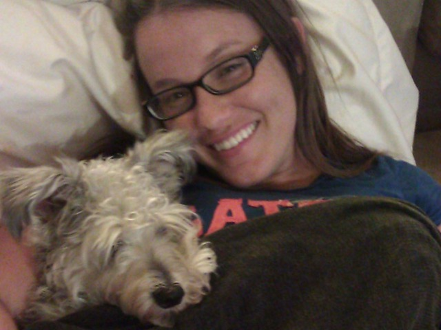 Danielle Thomas with her dog, Schnoozer.