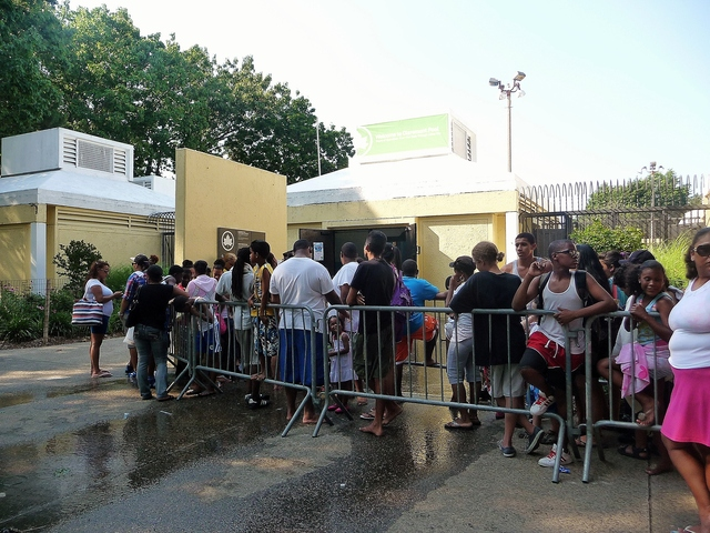 Swimmers waited to enter Claremont Park Pool June 28, 2012.