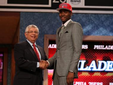 oe Harkless (R) of St. John's Red Storm greets NBA Commissioner David Stern (L) after he was selected number fifteen overall by the Philadelphia 76ers during the first round of the 2012 NBA Draft at Prudential Center on June 28, 2012 in Newark, New Jersey.