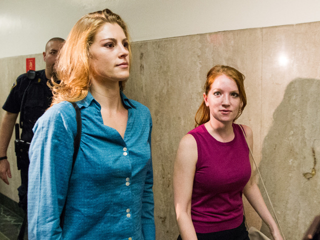 Jaynie Mae Baker enters Manhattan Supreme Court with her sister Jessica on June 29th, 2012.