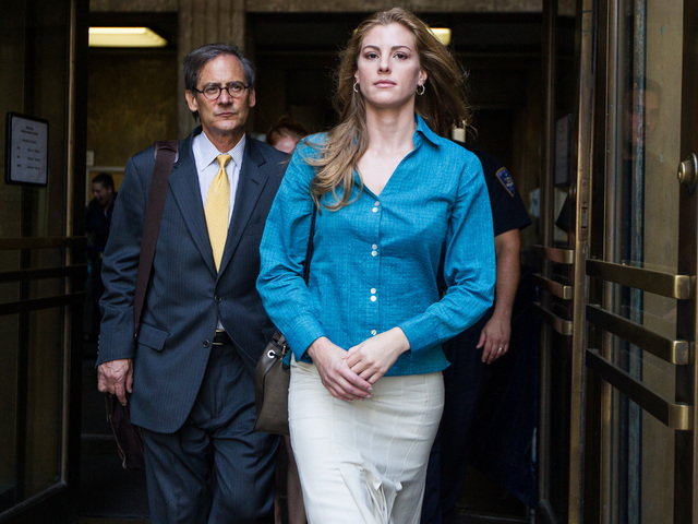 Jaynie Mae Baker leaves Manhattan Supreme Court with her lawyer Robert Gottlieb on June 29th, 2012.